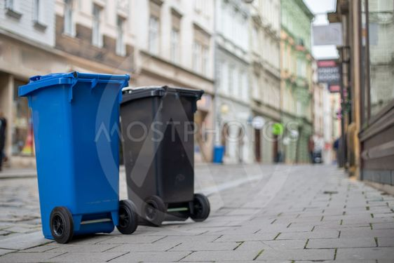 Waste bins in the city for order and cleanliness on the...