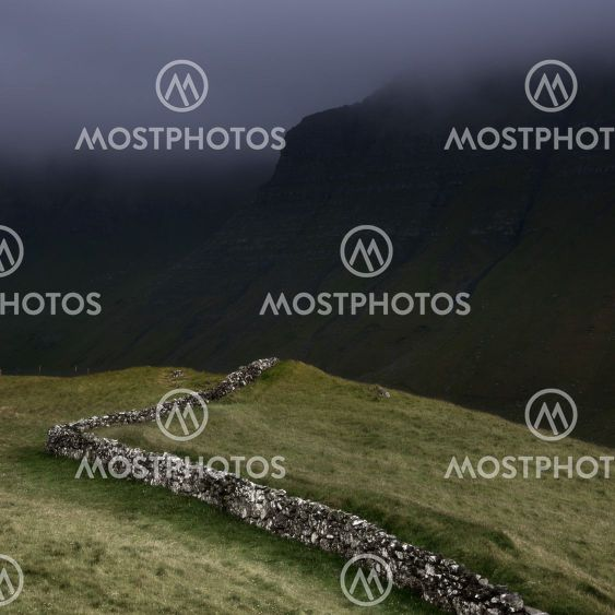 Fields and dry stone wall, Faroe Islands