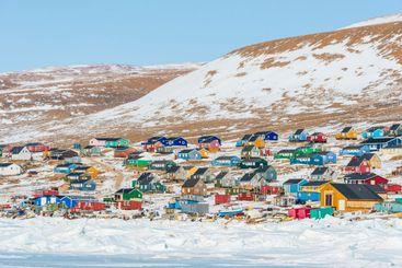 Buildings at village of Qaanaaq, Greenland