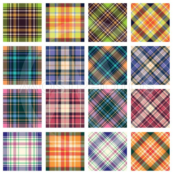 Plaid patterns, straight and diagonal orientation