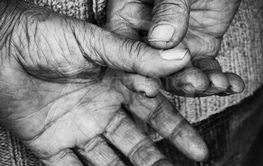 Senior adult empty hands