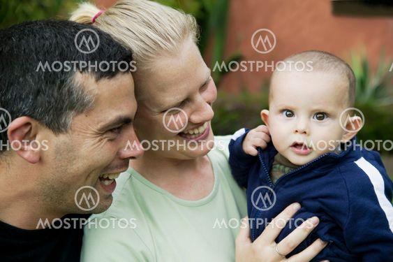 Mixed Hispanic Family with Cute Baby Boy