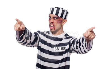 Prisoner with bad bruises on white