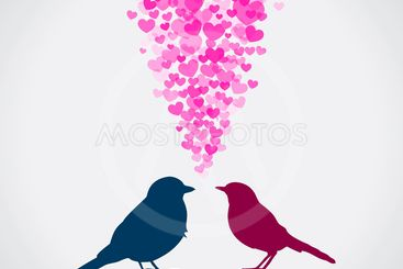 Two birds, love colorful card. Can be used for postcard,...