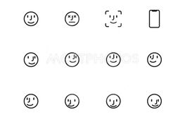 User Face line icons on white background. Vector...