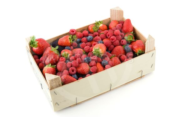 Wooden crate with fresh fruit