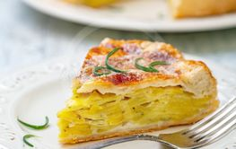Piece of French puff pastry with potatoes.