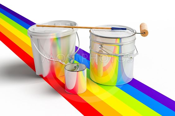 Bucket with paint, roller, and rainbows colors
