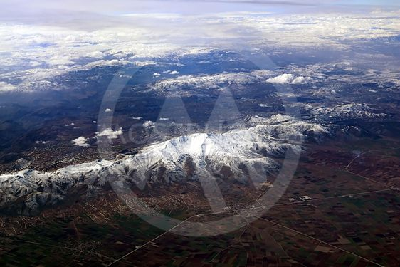 View of snow mountains in Turkey from the plane