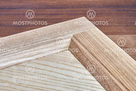 Stylish detail of furniture facade of veneer and solid ash