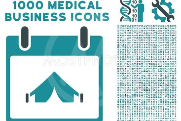Camping Calendar Day Icon With 1000 Medical Business...