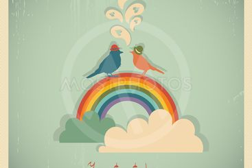 Rainbow with clouds and birds.