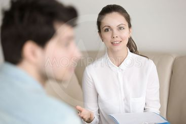 Psychological therapy, female psychotherapist cheering up...