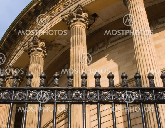 Neoclassical columns on Central Library Liverpool Uk...