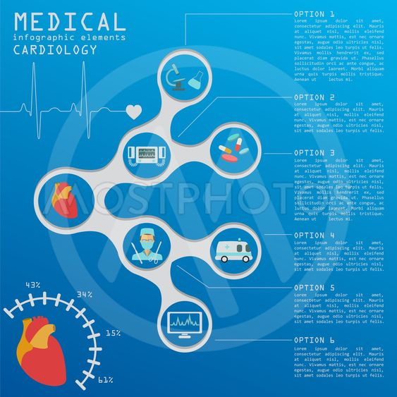 Medical and healthcare infographic, Cardiology...