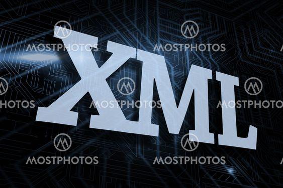 Xml against futuristic black and blue background