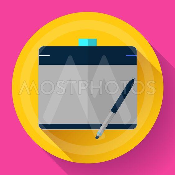 Graphic tablet icon. CG artist and Designer symbol. Flat...