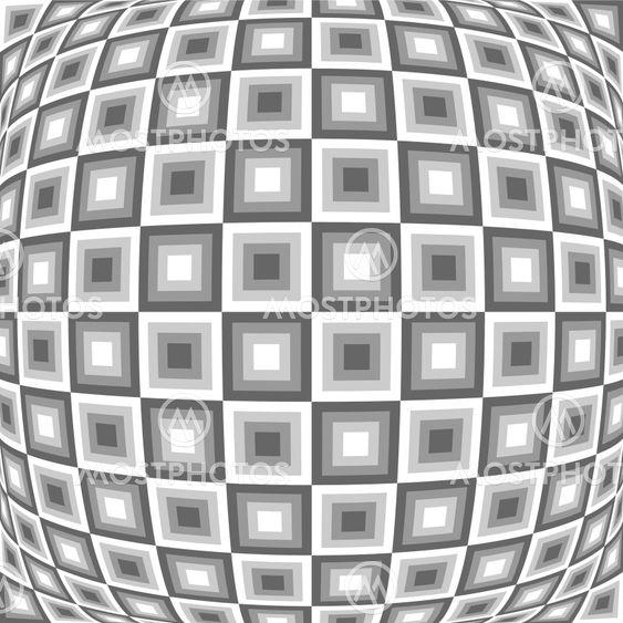Design monochrome warped checked pattern. Abstract convex...