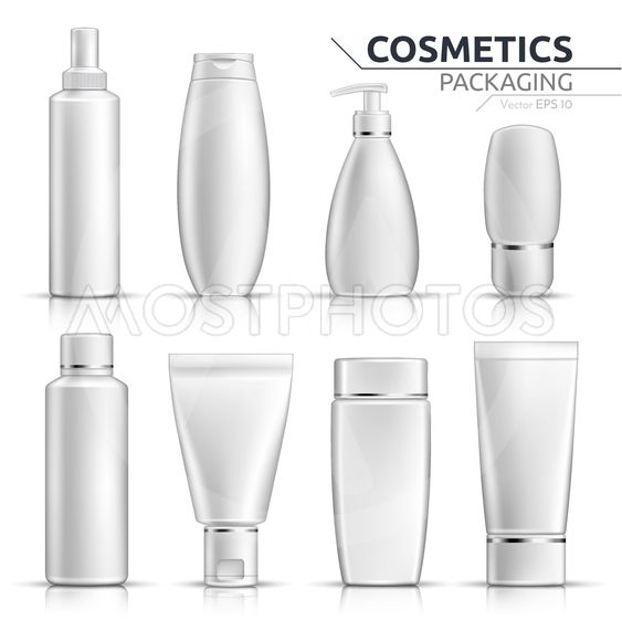 Realistic Cosmetic bottles mock up set on white...