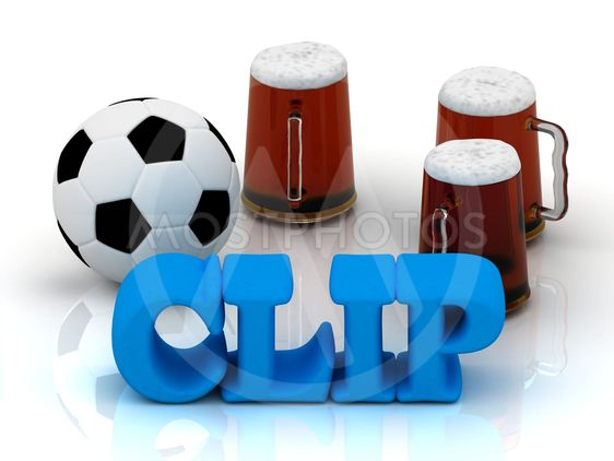 CLIP blue bright word, football, 3 cup beer