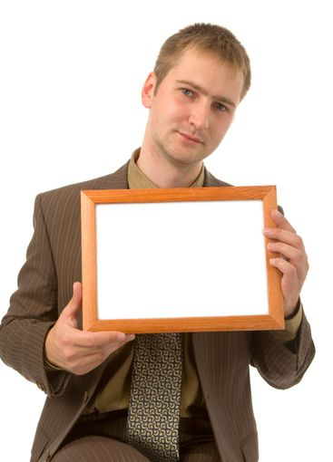 man with frame