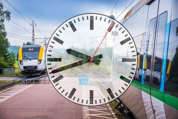 Collage med två tåg och en klocka