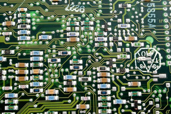 Fragment of an old computer board. A background