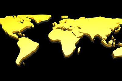 Golden 3D World map
