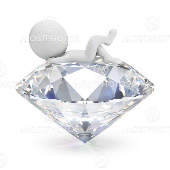 3d small people - lies on the diamond