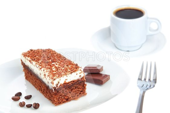 Piece of chocolate cake and coffee. On a white background.