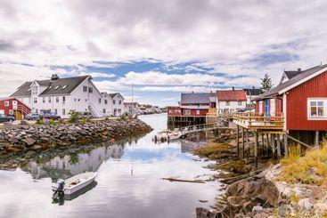 Picturesque fishing village Henningsvaer on Lofoten...