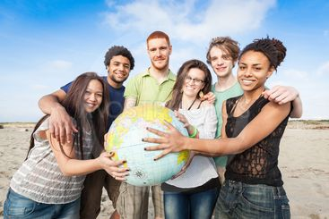 Multiracial Group of Friends with World Globe Map