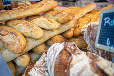 Baguette and other breads at a gourmet market