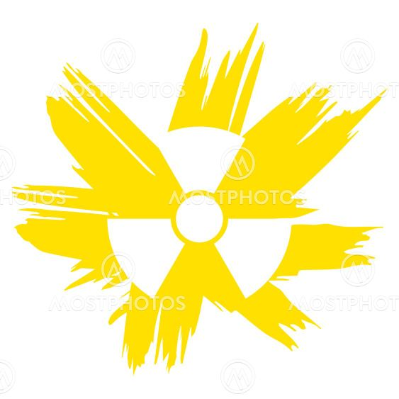 Illustration grunge radioactive symbol yellow