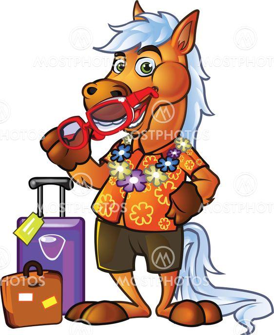 Pony Tourist Cartoon Mascot