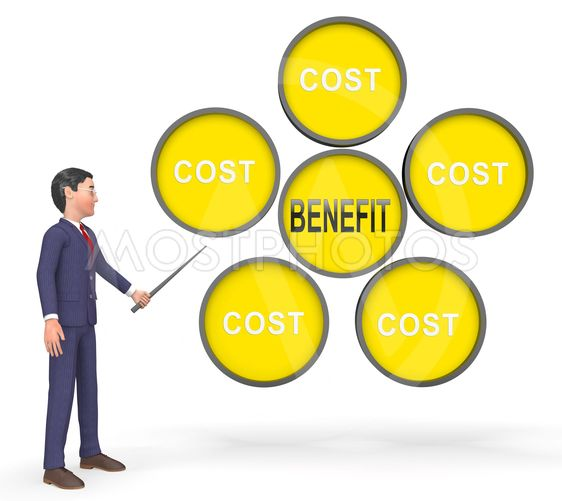 Cost Vs Benefit Businessman Means Comparing Price Against...