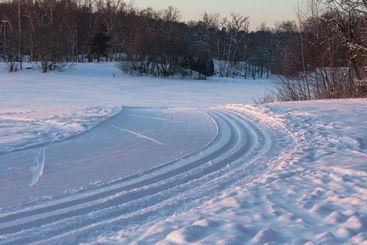 Nordic skiing track in beautiful winter morning
