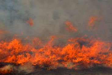 red fire and dense smoke