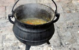 Soup cooking in a Cast iron stew pot