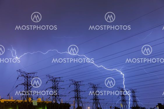 Lightning strike on electricity power lines and sub station