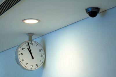 Clock and security camera