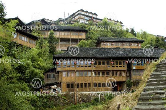 Kinesiske landsby nær Guilin