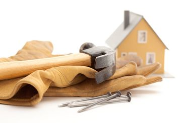 Hammer, Gloves, Nails and House