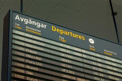 Avgångstavla på Arlanda flygplats