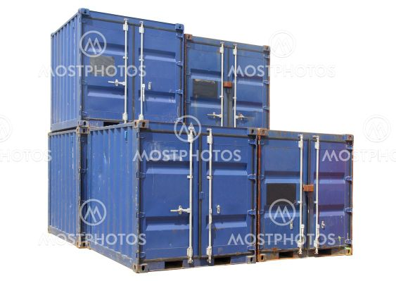 Ship cargo containers, isolated on a white background.