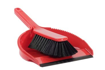 Dust pan with sweeper