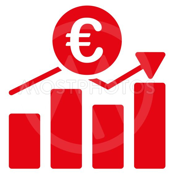 Euro Business Chart Flat Glyph Icon