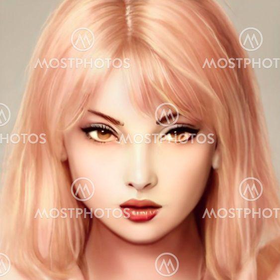 Blond girl face 3D