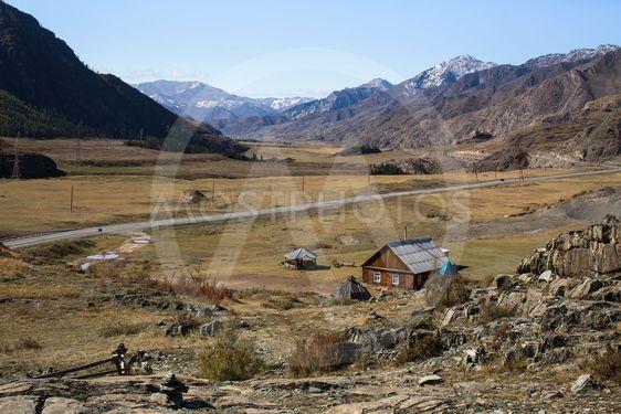Tract Kalbak-Tash and Chuya Highway in Altai mountains,...