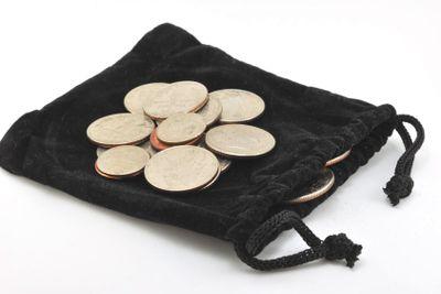 Coins on bag